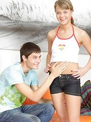Horny dude jizzing on her very sexy teenage boobs