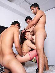 Teen latina in pink stockings gets three cocks
