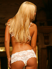 Nicole Jaimes looks anything but sweet and innocent in white lace panties