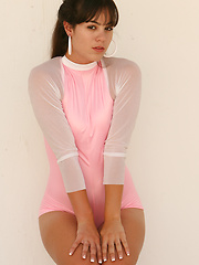 Abby shows off a little camel toe while wearing her tight pink romper