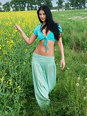 Long-legged russian beauty posing outdoor