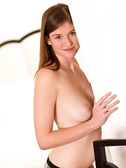 Nubile Lara Brookes exposes her delicate frame and sweet pussy