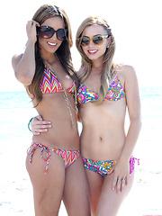 Lexi Belle and Melanie Rios public bikini teasing