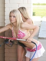 Skye and her cute petite friend show off in skimpy bikinis at the car wash