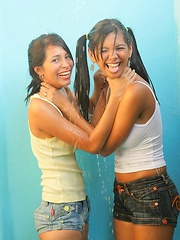 Karla and Klimax get steamy in the shower and then skinny dip in the pool.