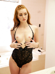 Redheaded temptress Natalie Lust takes her bald horny pussy to hot new heights with her magic fingers and vibrating toy