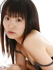 Kana Moriyama Asian is sexy both in uniform and in satin linjerie