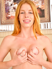 Cute amateur redhead Alexia Silvers has soft tender tits and a wet fuck hole