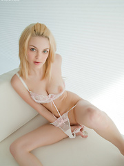 Beautiful Bree Daniels in pink undies showing off her luscious big tits and stuffing a dildo deep in her pussy