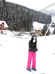 Skiing teenage sweethearts petting cunts at a giant chalet