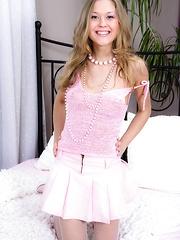 Elegant blonde teen Emma C teasing us with her hot assets